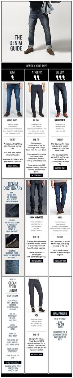 Style Tips & Tricks | Denim Guide | Jeans are a very personal thing and for many serve as a second skin. Your jeans go where you go. They live your lifestyle. They get abrasions and scars. And they bleed. Just like you. The longer you wear them, the more character and attitude they get. Besides denim, only leather has the ability to age so beautifully which is why taking your time to find the right brand for you is so crucial. | GOTSTYLE.CA