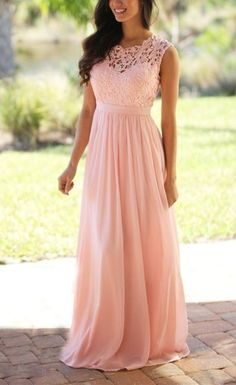 long chiffon Bridesmaid Dress,Sleeveless Bridesmaid Dress ,Pink Lace See THrough Bridesmaid Dress,Long Bridesmaid Dresses