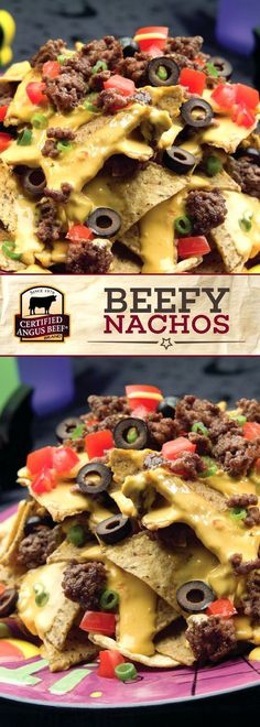 Certified Angus Beef®️ brand Beefy Nachos are deliciously simple and easy to make! The BEST ground chuck combined with nacho cheese, fresh tomato and green onion, and black olives makes for a DELICIOUS plate of nachos that you'll want to snack on all day! Best Beef Recipes, Mexican Food Recipes, Cooking Recipes, Cooking Gadgets, Skillet Recipes, Cooking Tools, Casserole Recipes, Yummy Recipes, Hamburgers