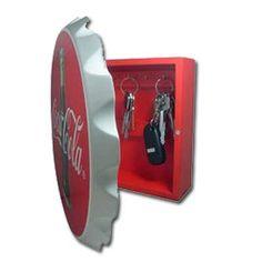 Red Coca-Cola Wood Contour Bottle Crown Key Box