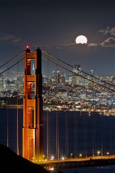 "/ Photo ""Golden Gate Bridge - Fullmoon - San Francisco - CA"" by Dominique Palombieri. Length Connects the Sausalito side at the northern end in Aries with Sagitarius with the San Francisco in Aries with Capricorn Places Around The World, Oh The Places You'll Go, Places To Travel, Around The Worlds, Ponte Golden Gate, Golden Gate Bridge, Beautiful World, Beautiful Places, Amazing Places"