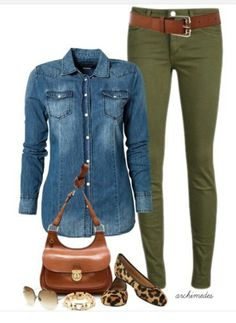 Chambray/green, like the mix