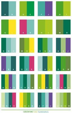 Green tone color schemes, color combinations, color palettes for print (CMYK) and Web (RGB + HTML)
