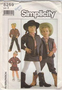 Western Clothes Pattern Pants Skirt Vest Shirt Top Girls Boys Size 3 Uncut Simplicity 8259 by PrettyfulPatterns on Etsy