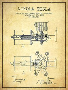 Inventions ideas: Nikola Tesla Patent Drawing From 1886 - Vintage