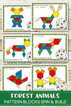 Forest Animals Pattern Blocks Create beautiful forest animal pictures with these pattern block spin and build mats. It is a fun way of learning geometric shapes and an engaging math activity for kids. Animal Activities For Kids, Toddler Activities, Ways Of Learning, Early Learning, Forest Animals, Woodland Animals, Zoo Animals, Kindergarten Art, Preschool Activities