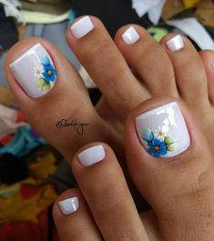 Summer Toes – 40 Best Summer Toe Nail Art for 2019 - Beauty Home Pretty Toe Nails, Cute Toe Nails, Purple Toe Nails, Toe Nail Color, Toe Nail Art, Nail Nail, Acrylic Toe Nails, Nail Colors, Toe Designs