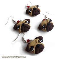 orecchini cane CARLINO creati a mano in fimo idea regalo natale pug dog earrings