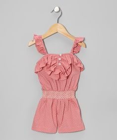 Primly patterned with buoyant trim below the neck, this whimsical one-piece lends to effortless dressing with easy slip-on silhouette and stretchy shirred bodice.100% cottonMachine wash; tumble dryImported