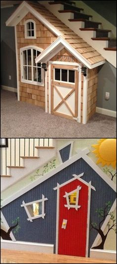 An indoor playhouse under the stairs is a great alternative for those who don't have extra outdoor space for a cubby house. What's great is that it doesn't make the house less spacious since it occupies space barely utilized by homeowners.It is easier to build than an outdoor playhouse, too! Got space under your stairs you want to turn into a kid's playhouse? We've gathered some beautiful ideas for inspiraton: http://kids.ideas2live4.com/2015/09/23/under-the-stairs-indoor-playhouse/