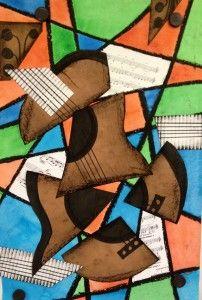 Picasso: Cubist Abstract Art Guitar or Music Instrument Mixed Media Lesson Art Picasso, Pablo Picasso, Classe D'art, Cubism Art, 4th Grade Art, Guitar Art, Elements Of Art, Art Classroom, Art Plastique