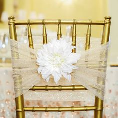 Make your guests feel welcome with classic, elegant reception decor. These chair accents are qui...