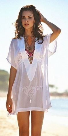 See more about beach outfits, beach accessories and white swimsuit. White Swimsuit, Swimsuit Cover, Sheer Swimsuit, Swim Cover, Bathing Suit Cover Up, Bikini Cover Up, Bathing Suits, Beach Cover Ups, Beach Attire