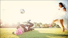 Soccer-themed wedding pictures