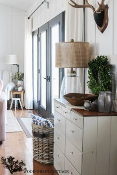 Black French Doors. Perfect touch of depth and farmhouse style by The Wood Grain Cottage
