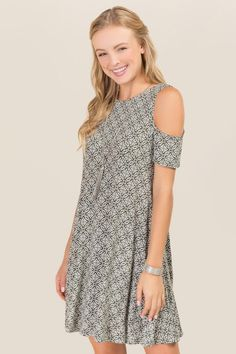 47fea160e995d0 Ellis Cold Shoulder Medallion Knit Dress