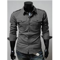 a0b99ca16ae autumn and winter new Korean version men s casual long-sleeved pocket shirt  HZHS-1399
