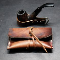 Tobacco pouch and pipe holder leather accessories GIFT set by TheLeatherRepublic on Etsy Leather Tobacco Pouch, Leather Gifts, Leather Pouch, Leather Craft, Wooden Smoking Pipes, Tobacco Pipe Smoking, Tobacco Pipes, Wooden Pipe, Cigar Cases