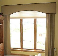 "Window Fashions: An ""Eyebrow Shaped"" Cornice Board with Stationary Panels"