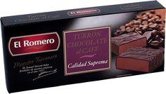 Turron de Chocolate al Café EL ROMERO Calidad Suprema 200 g x 16 unidades