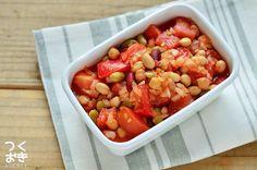 トマト、たまねぎ、ミックスビーンズを調味料と和えるだけの簡単サラダのレシピ。エスニック風味のさっぱりヘルシーな副菜です。そのまま食べるのはもちろん、サラダにドレッシングのかわりにかけたり、サラダチキンとも相性がよいです。冷蔵保存3日 Overnight Oats, Chana Masala, Mexican, Favorite Recipes, Cooking, Ethnic Recipes, Foods, Salad, Kitchen