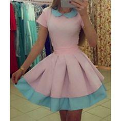 Sweet Peter Pan Collar Short Sleeve Color Block Women's Dress