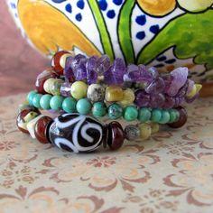 Rustic gemstone bracelet beadwork wrap by TheEclecticBohemian, $54.00