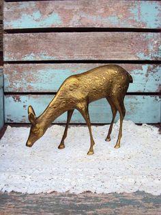 Vintage Brass Large Deer Figurine Gold Doe Woodland Decor or