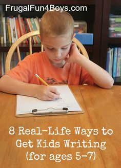 8 Real-Life Ways to Get Kids Writing - Because it's more motivating for kids to do their best when they have a purpose! Writing Ideas, Creative Writing, Kids Writing, Writing Skills, Teaching Writing, Teaching Kids, Literacy Activities, Activities For Kids, Writing Workshop