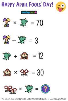April Fools' Day Math Puzzle for Grades — Mashup Math Funny Math Jokes, Math Humor, Jokes Kids, Funny Puns, Math Resources, Math Activities, Math Games, 1st Grade Math, Grade 1