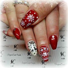 red christmas sweater coffin nails with reindeer -- SugarCoat Nails IG @sugarcoatnailsbylindsay