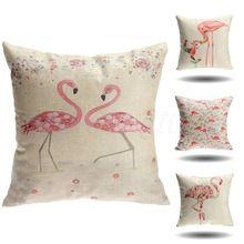 Flamingo linho capa de almofada , sofá carro Auto decoração capa de almofada capa de sofá capa de almofada decorativa 45 x 45 cm(China (Mainland))