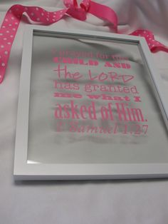 """""""I prayed for this child and the Lord has granted me what I asked of Him."""" 1 Sam. 1:27 Perfect for a new baby or child's room, this Subway Art Baby is in a floating frame so the wall color shows through the glass."""