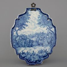 A large Rotterdam delftware blue and white biblical plaque, ca. 1740