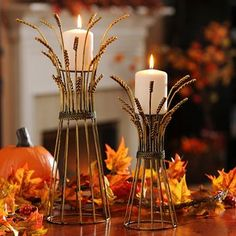 Light up your table with our Wheat Bushel Candle Holders! #kirklands #harvest