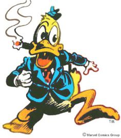 Howard the Duck classic pose. I want him jumping out of cloak across the top of my back shoulder to shoulder