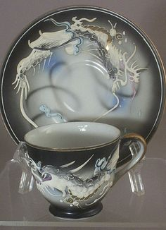 13 Pc Vintage Kutani Dragonware - Moriage Hand Painted Tea Set from lilacvintage on Ruby Lane