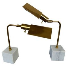 Check out this item at One Kings Lane! Brass & Marble Reading Lamps, Pair