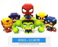 Seriously- way too cute! Using these free pdfs to make as favors for Ronan's superheroes party!  Mini Papercraft: Superheroes