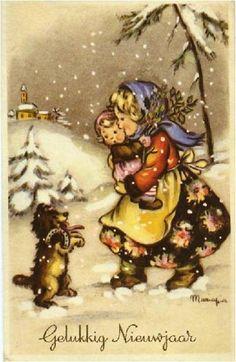 Illustration de Maria Pia Franzoni Tomba; ------Nederlandse Gelukkig-Nieuwjaars-postkaart.--------lbxxx.
