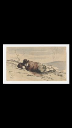 Honoré Daumier - Rest in the country (Sancho Panza) - Crayon and brown, blue and green watercolor on laid paper - 8,3 x 14,3 cm - Rosenwald collection - Washington, NGA