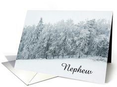 Happy Birthday-Nephew-Snow-Evergreen Trees-Custom card. Thank you customer in Arizona!