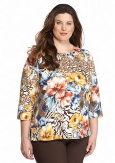 Alfred Dunner  Plus Size Floral Patch Print Knit Top