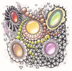 Last week I have been drawing Gems with a friend.   Vorige week samen met een vriendin bezig gewees met het kleuren van edelstenen.  Wat een...