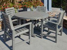 Signature 5-Piece Dining Set made from recycled plastic lumber! Available in 7 fade resistant colors. Outdoor furniture that is built to last, and is maintenance free.