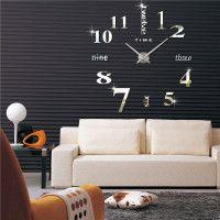 DIY Analog Number Sticker Wall Clock Alloy Surface Large Home Decor Modern Wall Clock Kits, Wall Clock Sticker, Mirror Wall Clock, Diy Clock, Clock Decor, Diy Mirror, Wall Clocks, Home Office, Office Decor