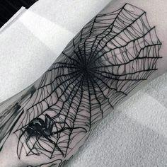 Amazing Spider Web Mens Black Ink Knee Tattoo Ideas