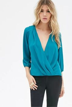 Fall Fashion Sexy Women Solid Color V-Neck Three-quarter Sleeve Blouse