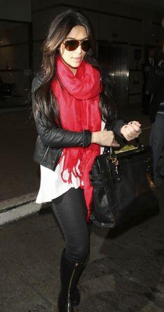 Kim Kardashian Red Scarf LAX Airport Fashion Style