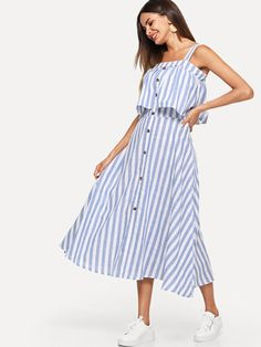 0d65cad920 Striped Single Breasted Tiered Dress Only US 21.00 Stylowe Stroje